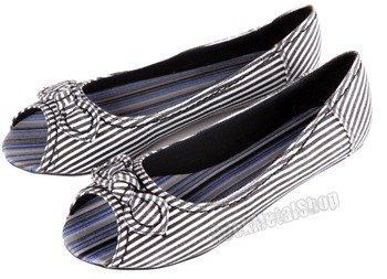 balerinki NEW AGE - BLACK/WHITE STRIPES (OX-01)