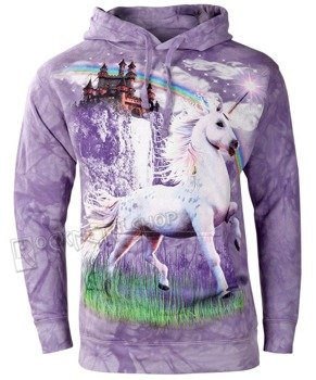 bluza THE MOUNTAIN - UNICORN CASTLE, kangurka z kapturem, barwiona