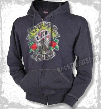 bluza z kapturem GUNS N' ROSES - CARDS (GRAY)