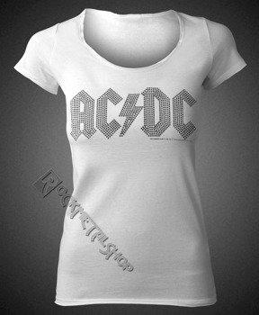bluzka damska AC/DC - LOGO WHITE BLACK, cyrkonie