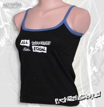 bluzka damska ALL DIFFERENT ALL EQUAL czarna na ramiączkach