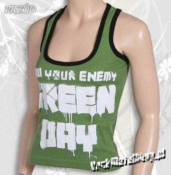 bluzka damska GREEN DAY - KNOW YOUR ENEMY bokserka (zielona)