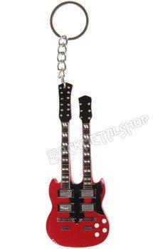 brelok / miniaturka gitary LED ZEPPELIN - JIMMY PAGE: GIBSON SG DOUBLENECK STYLE