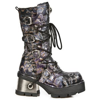 buty NEW ROCK - VINTAGE FLOWER LILA, PLANING NEGRO M8 ACERO [M.373-S24]