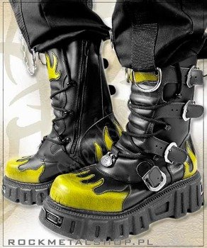 buty New Style KMM czarno żółte [WZ. 382], 4 klamry z wzmacnianą cholewą