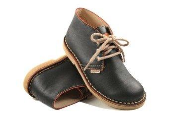 buty skórzane NAGABA - CZARNE / BORDO BRZEG (082)
