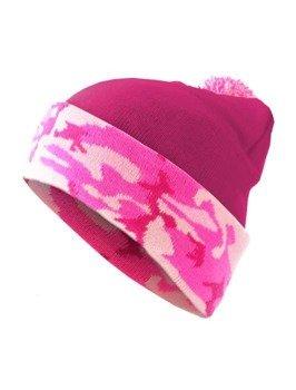 czapka zimowa MASTERDIS - BEANIE POMPON CAMO hot pink