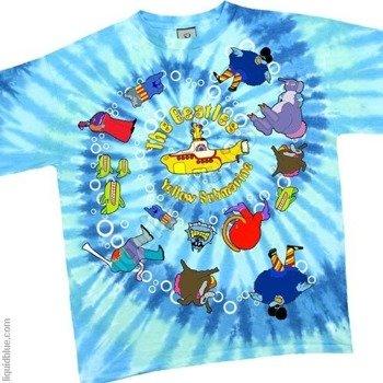 koszulka THE BEATLES - YELLOW SUBMARINE SPIRAL barwiona