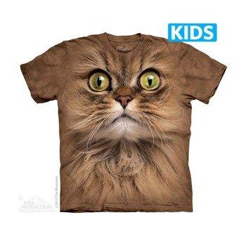 koszulka dziecięca THE MOUNTAIN - BIG FACE BROWN CAT, barwiona