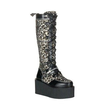 kozaki damskie na platformie DEMONIA (CREEPER-812) (Black Pu/ Cheetah)