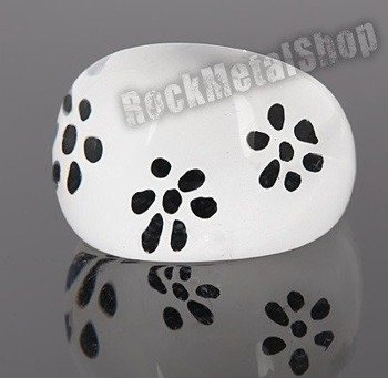 pierścień FLORAL biały