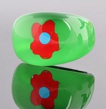 pierścień FLORAL zielony