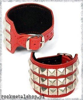pieszczocha 3-rzędowa z ćwiekami  PYRAMID czerwona