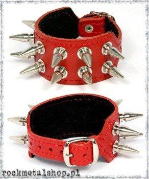 pieszczocha z ćwiekami 2-rzędowa SPIKE czerwona