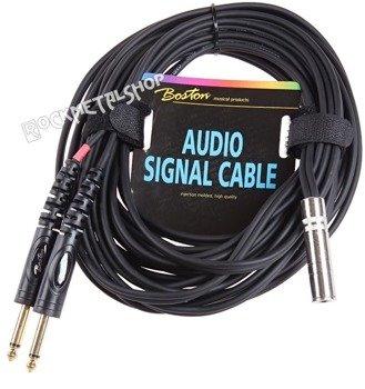 przewód audio BOSTON: 2 x JACK MONO duży (6.3mm) - GNIAZDO JACK duży stereo (6.3mm) / 9m