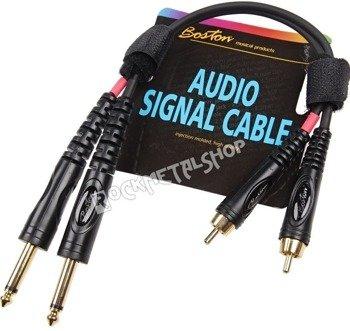 przewód audio BOSTON: 2x RCA (cinch) -  2x JACK MONO duży (6.3mm) / 30cm