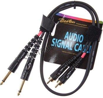 przewód audio BOSTON: 2x RCA (cinch) -  2x JACK MONO duży (6.3mm) / 75cm