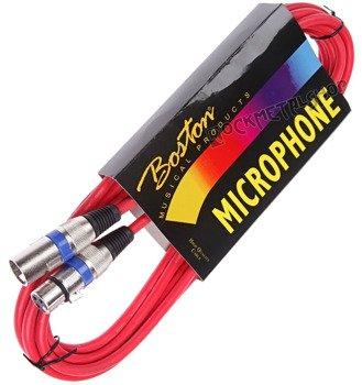 przewód mikrofonowy BOSTON RED: XLR żeński -  XLR męski / 5m