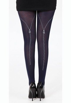 rajstopy SUWAK Flocked Zip Tights - Black