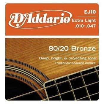struny do gitary akustycznej D'ADDARIO Bronze Round Wound EJ10 /010-047/