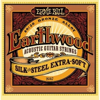 struny do gitary akustycznej ERNIE BALL Earthwood 80/20 SILK AND STEEL Extra Soft EB2047 /010-050/