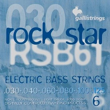 struny do gitary basowej 6str. GALLI STRINGS - ROCK STAR RSB61 NICKEL WOUND /030-125/