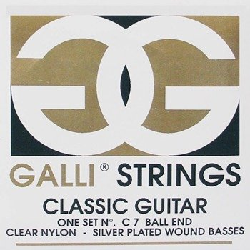 struny do gitary klasycznej GALLI C-7 SILVER PLATED, BALL END Normal Tension