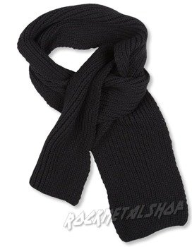 szalik FREE AUTHORITY - BLACK CHUNKY KNIT SCARF