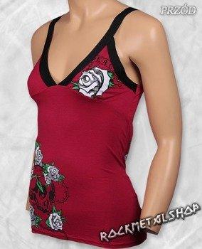 top damski SKULL & ROSES czerwony