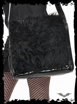 torba BLACK IMITATION FUR BAG WITH LONG STRAP