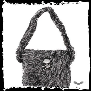 torba GRAY/BLACK FUR BAG WITH SKULL