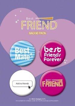 zestaw 4 przypinek BEST FRIEND
