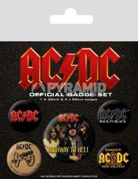 zestaw 5 szt. przypinek AC/DC - LOGO