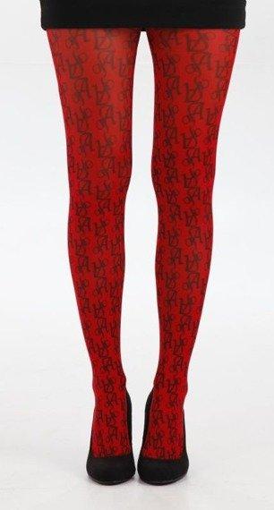 Rajstopy PRINTED AJs kolor czerwony
