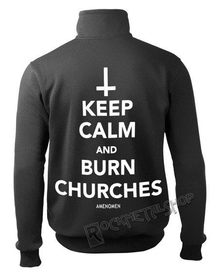 bluza AMENOMEN - KEEP CALM AND BURN CHURCHES rozpinana, stójka (OMEN069CS)