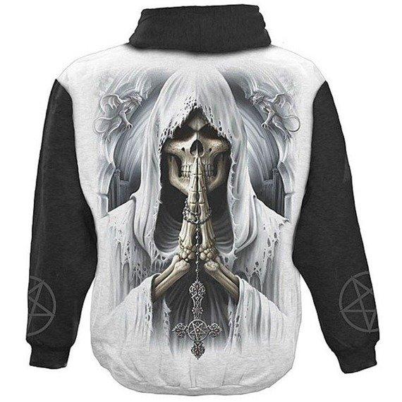 bluza DEATH PRAYER czarno-biała, z kapturem