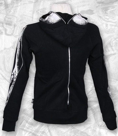 bluza FLEECE MENS GOTHIC, czarna z kapturem