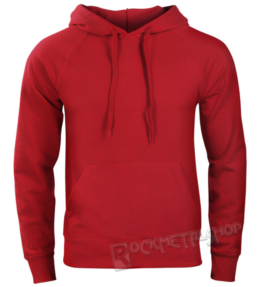 bluza FRUIT OF THE LOOM - RED bez nadruku, kangurka z kapturem