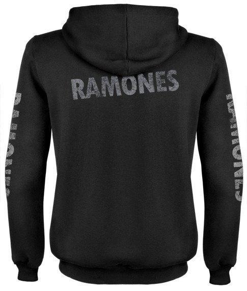 bluza RAMONES - LOGO  czarna, rozpinana z kapturem