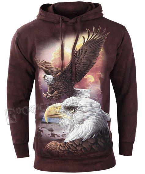 bluza THE MOUNTAIN - EAGLE & CLOUDS, kangurka z kapturem, barwiona