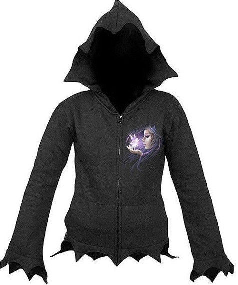 bluza damska COMPANION czarna, rozpinana z kapturem