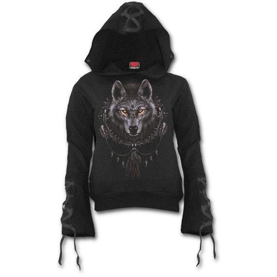 bluza damska WOLF DREAMS czarna, z kapturem
