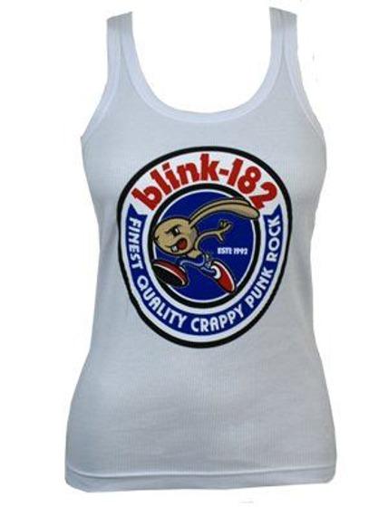 bluzka damska BLINK 182 - BUNNY SEAL ,na ramiączka (WHITE)