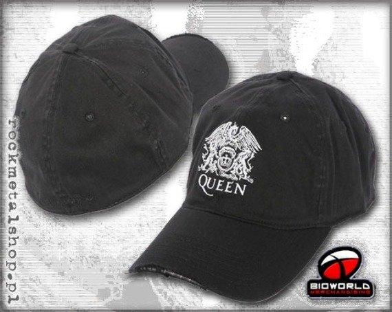 czapka QUEEN - CREST WASHED BLACK FLEX CAP