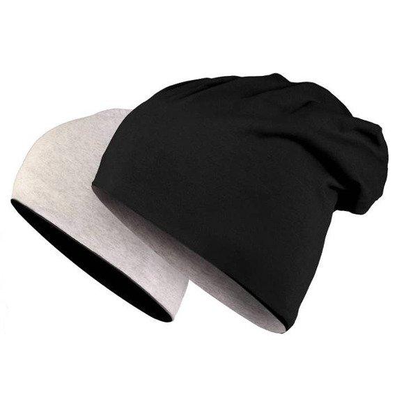 czapka dwustronna MASTERDIS - JERSEY BEANIE REVERSIBLE black/ht.grey