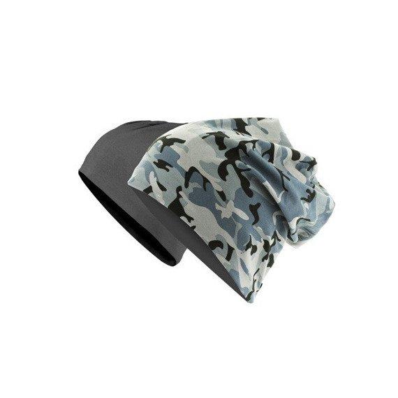 czapka dwustronna MASTERDIS - PRINTED JERSEY BEANIE grey camo/charcoal