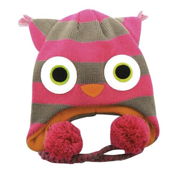 czapka zimowa FREAKS AND FRIENDS - PINK/GREY STRIPED OWL