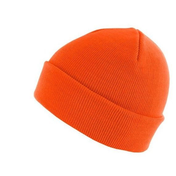 czapka zimowa MASTERDIS - BEANIE BASIC FLAP neonorange