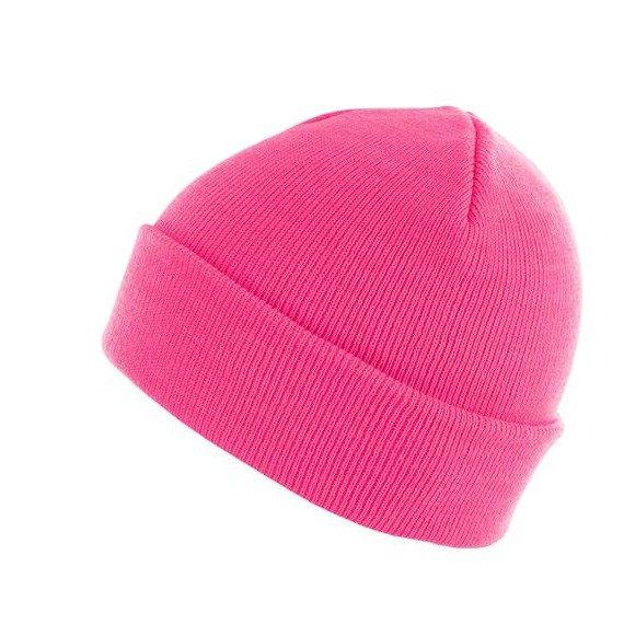 czapka zimowa MASTERDIS - BEANIE BASIC FLAP neonpink