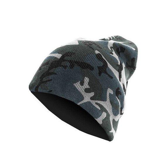 czapka zimowa MASTERDIS - BEANIE CAMO FLAP grey camo/charcoal